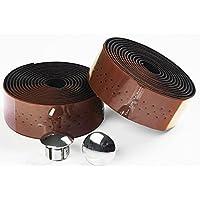 200cm Cuero de la PU Cinta de manillar de bicicleta, bicicleta de carretera con cinta, Wrap con Bar plugs, 2 Pcs (brown)