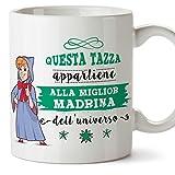 Mugffins Madrina Tazza/Mug - Questa Tazza Appartiene alla Miglior Madrina dell'Universo - Idea Regalo Giorno di Pasqua/Battesimo - Tazza Migliore Madrina in Ceramica. 350 ml