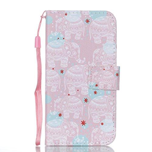 iPhone 8 Plus Lederhülle, iPhone 7 Plus Ledertasche,Vandot Abnehmbare Magnet Flip Case Ledertasche Schutzhülle für iPhone 8 Plus/iPhone 7+ Plus Detachable Leder Huelle Stand Halter Magnetverschluss Kr Elefanten