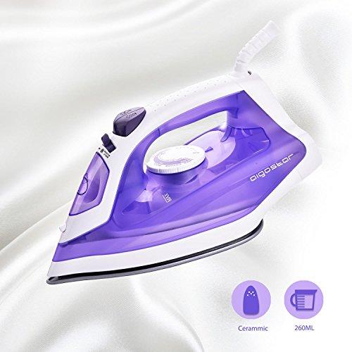 Aigostar Ceramic Purple 31HGE - Fer à repasser de 1600W avec semelle en céramique anti-adhérante. Contrôle de la vapeur, système anti-gouttes et fonction auto-nettoyage. Réservoir de 260 ml, couleur violet. Design exclusif.
