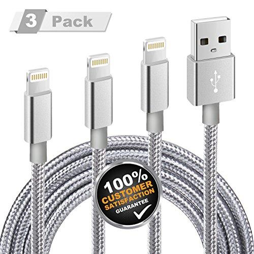 iPhone Ladekabel, MiTE Lightning Kabel [Nylon geflochten] 1M+2M+3M für iPhone X/ 8/ 7/ 6 Plus/ 6S/ 5S/ iPad Mini, iPad Air 2/ Pro und mehr (Grau)