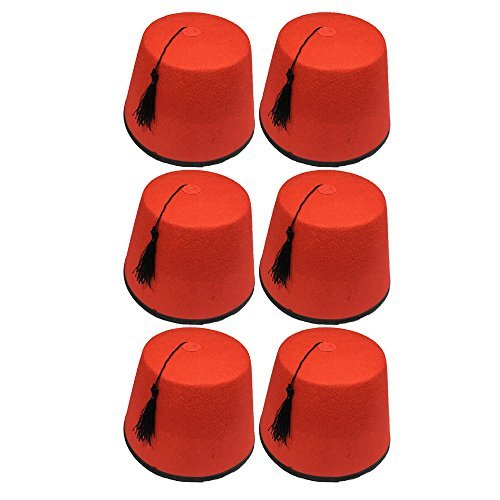 Quickdraw 6 x Erwachsene rot Fez Türkisch schwarz Quasten Unisex Kostüm Verkleidung Zubehör
