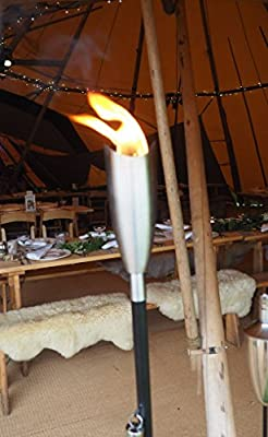 Garden Oil Torch - High Quality Stainless Steel - Outdoor Oil Lamp Wedding - 7 X 7 X 145cm by Za Za Homes