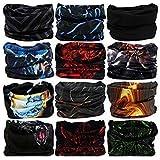 M/S TRYITON Unisex Headwear Headband Head Wrap UV Resistence Sports Bandana Magic Scarf Face Mask (Free Size,Multicolour) Pack of 5