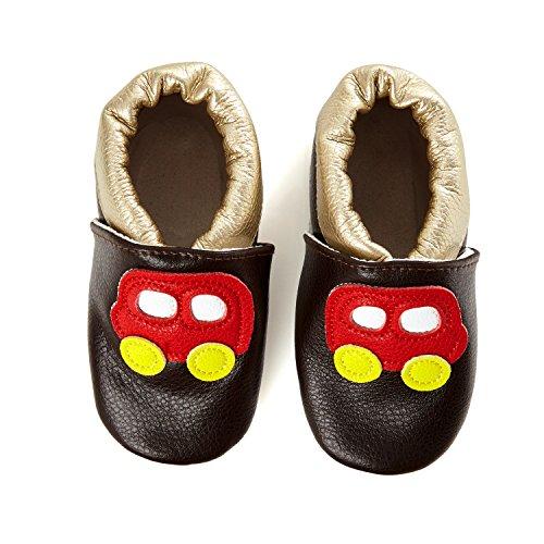 SmileBaby Premium Lauflernschuhe Krabbelschuhe Babyschuhe Baby Schuhe Braun Auto 12 bis 18 Monate