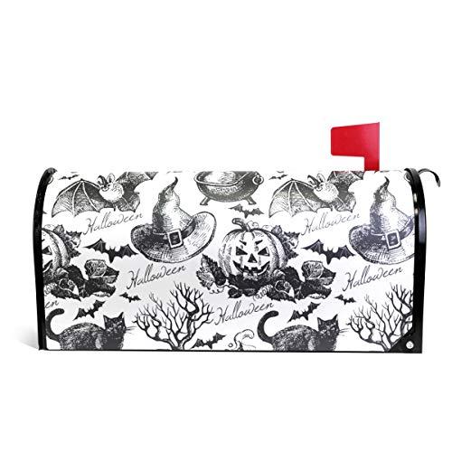 Alaza(mailbox cover) WOOR Sketch Halloween Magnetbriefkastenabdeckung, Standardgröße, 45,7 x 52,1 cm 25.5x20.8 inch Oversized Multi