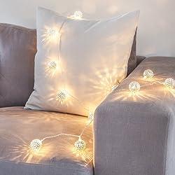 Guirnalda de 16 luces LED de hadas metálicas plateadas color blanco