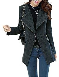 TOOGOO(R) Women Woolen Winter Warm Zipper Trench Long Coat Jacket Parka Outwear Black XL