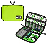 niceEshop(TM) Portable Travel Cable Organizer Case Bag Phone Charger Case for Electronic Computer Cell Phone IPad Accessories USB Cables Power Banks Hard Disk , Green