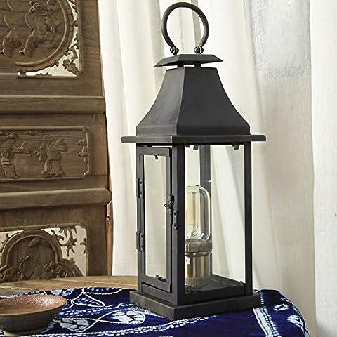 Crayom CHINA Stil Glas Lampe Laterne, schwarz Glas und Eisen Retro Nostalgische Industrie Wand Lampe American Village Dekorative Lichter Schlafzimmer Wohnzimmer Eisen Glas Licht Cafe Tischlampe ( Color : B )