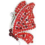 OMYGOD Crystal butterfly brooch - red