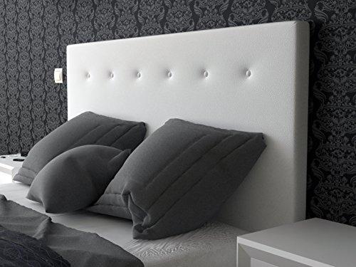 LA WEB DEL COLCHON Cabecero de cama tapizado acolchado Macedonia (Cama 80) 90 x 70 cms. Polipiel color Blanco. Incluye herrajes para colgar con regulador de altura