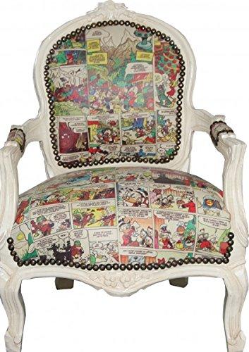 Barock Kinder Stuhl Comic Lederoptik/Antik Creme - Armlehnstuhl