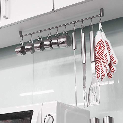 HOMFA Porta Utensili da Cucina in Acciaio Inox con 10 Ganci, 58cm Barra da Parete Carico Fino a 20kg - 6