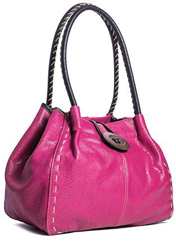 Big Handbag Shop moderne Damen Schultertasche Boutique aus Kunstleder Pink (GL672)