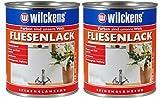 2 x Wilckens Fliesenlack weiß seidenglänzend 750 ml Renovierungsanstrich für Wand- und Deckenfliesen, z. B. in Küchen und Bädern im Innenbereich