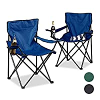 Relaxdays Camping Chair Set of 2, Arm Rests, Cup Holder, Picnic Chair, HxWxD: 82 x 78 x 50 cm 16