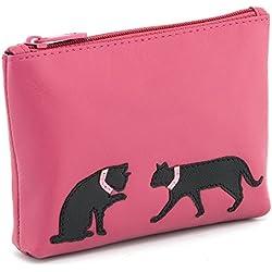 Bolso de mano de cuero con cremallera para monedas, cartera de piel con diseño de gatos de Harness, rosa (rosa) - 1726CT 21 20