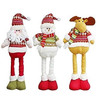 Ogquaton Juguete de muñeca de pie Extensible Navidad Santa/Muñeco de Nieve/Reno X 'mas Decoraciones de Fiesta Adornos