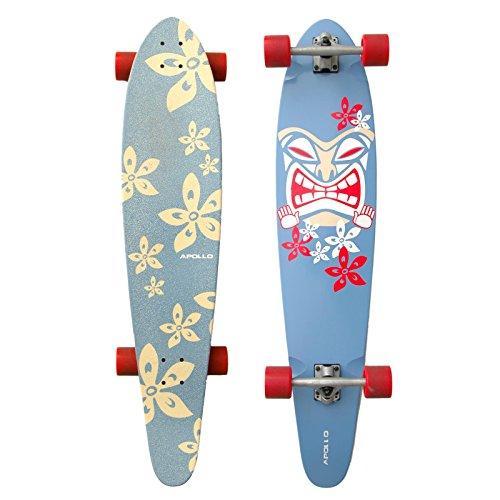 Apollo Longboard Moorea Tiki, Komplettboard, 107cm (42inch) x 22,8 cm (9inch) Freeride Skaten Cruiser Boards