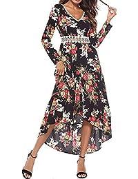 HWTOP Damen Langarm Kleid Maxikleider Blumenkleid Drucken Strandkleid  Vintage Abendkleid Rundhals Hohe Taille Elegant Floral Print… e8d3ceb349