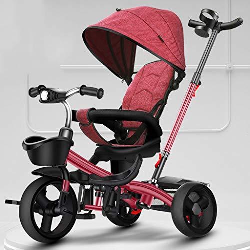 Jixi Das Dreirad der Kinder, das tragbaren Kinderfahrrad-Wagen mit Pedal-justierbarer Laufkatzen-Drehsitz-Speicher-Rahmen-Markise faltet (Color : Red) -