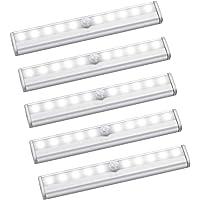 Growment Lot de 5 lampes à détecteur de mouvement - 10 LED - Sans fil - Magnétiques - Éclairage sous armoire - Pour…
