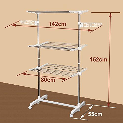 Homcom® Mobiler Wäscheständer Wäschetrockner-Turm Seitenflügel auf 3 oder 4 Ebenen klappbar (142 x 55 x 152 cm)