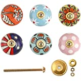 Knobs for Drawers - Antique Assorted Multicolor Decorative Floral Blue Pottery Ceramic Door Knob for Cupboard, Kitchen Cabinet, Dresser
