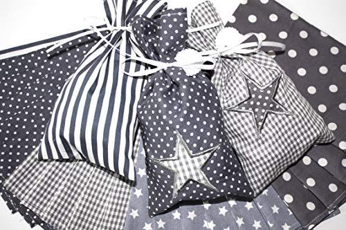 Adventskalender aus Stoff, Säckchen, Adventkalender zum Befüllen, Adventskalender mit gestickten Sternen