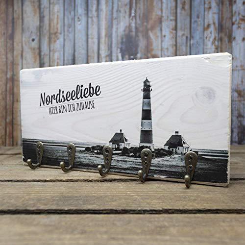 elbPLANKE mit Haken - Nordseeliebe   12x24 cm   Schlüsselbrett von Fotoart-Hamburg   mit 5 Antike Haken aus Holz (Kiefer/Fichte) - 100{9fa092f035a5816244aab5f2d402ccccc5be68aebdc60149f4a9c5922f200f90} Handmade