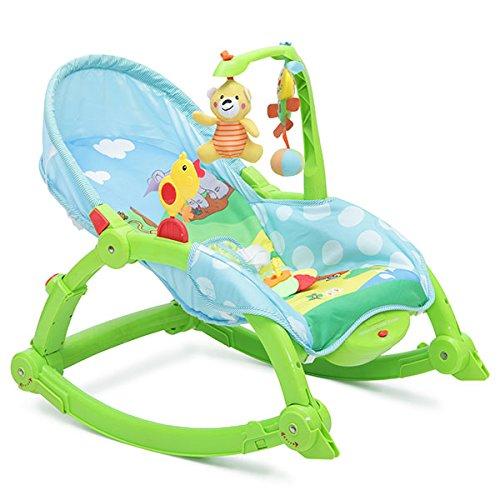 Babywippe, Stuhl Rocker 2 in 1, verstellbar mit Spielbogen und Vibration (Grün)