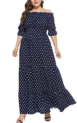 MAGIMODAC Übergröße Kleider Damen Frauen Elegant Off Shoulder Blumen Kleider Cocktailkleid Partykleid Abendkleid Brautkleider Höhe Taille Lang 44 46 48 50 52 54 (Etikett 5XL/EU 52, Blau)