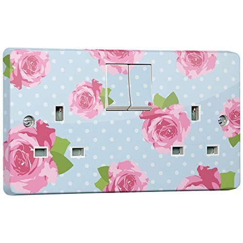 Blue Shabby Shic Socket Outlet Sticker for Crabtree 4306 Double by stika.co