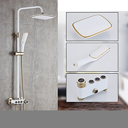 Sursy dusche, bad unter druck, das schwarze gold paint, kupfer, warmen und kalten wasserhahn,das weiße gold drei getriebe