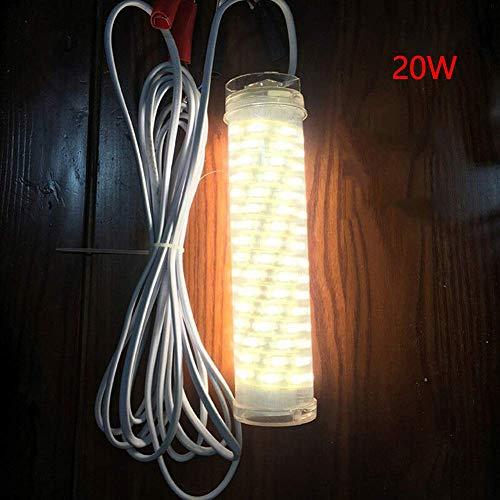TXYFYP Night Fishing LED Licht Unterwasser Fishing Licht Unterwasser Tief Tiefer Dock Snook Licht Tauchpumpe Fischerboot Lampe Köder Köder Attract Angeln Licht - Warm Weiß (20w) -