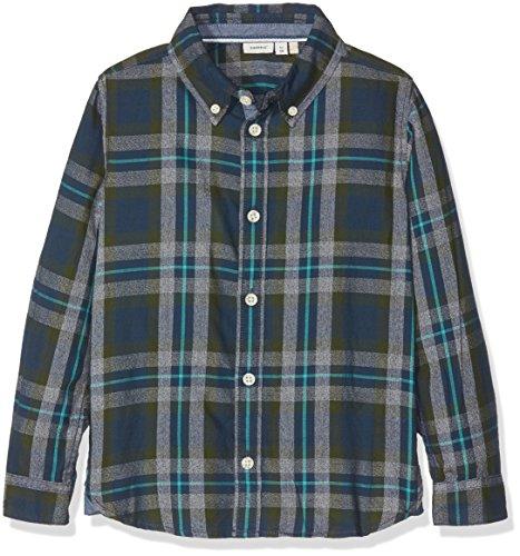 NAME IT Jungen Hemd Nitilias LS Shirt Mini Mehrfarbig (Kombu Green), 122 (Herstellergröße: 122/128)