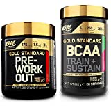 Optimum Nutrition Gold Standard Pre-Workout Fruit Punch 330g with 266g Strawberry Kiwi BCAA Powder