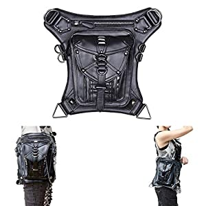 Retro Women MEN Gothic Rock Leather Steampunk Bag Steam Punk Retro Rock Gothic Goth Shoulder Waist Bags Packs Victorian Style for Women Men + leg Thigh Holster Bag   1