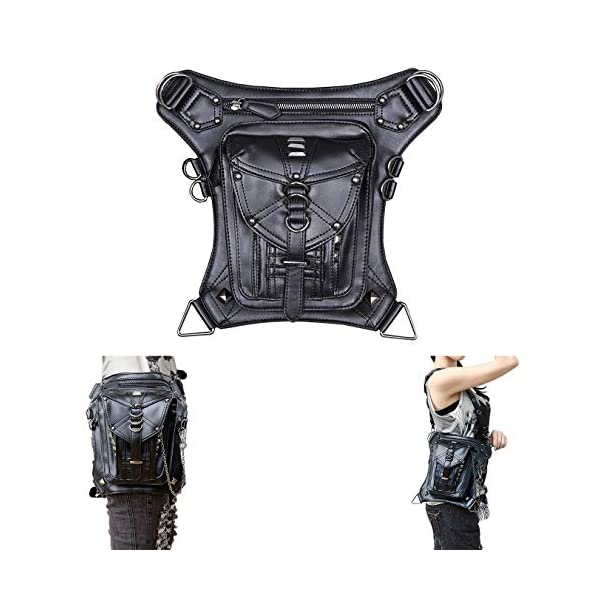 Retro Women MEN Gothic Rock Leather Steampunk Bag Steam Punk Retro Rock Gothic Goth Shoulder Waist Bags Packs Victorian Style for Women Men + leg Thigh Holster Bag DM201605 100% Brand New and High Quality. Adjustable belt design for better fitting body Material : Leather ( PU Leather) Durable material and workmanship to withstand daily wear & tear. 1