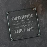"""Personalised Glass Coaster/Stepdad Gifts From Stepson And Stepdaughter/Birthday Gift for Step Dad/Fathers Day Present Idea /""""BONUS DAD"""" Design"""