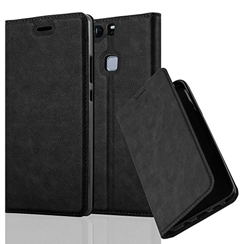 Cadorabo Hülle für Huawei P9 Plus - Hülle in Nacht SCHWARZ – Handyhülle mit Magnetverschluss, Standfunktion und Kartenfach - Case Cover Schutzhülle Etui Tasche Book Klapp Style