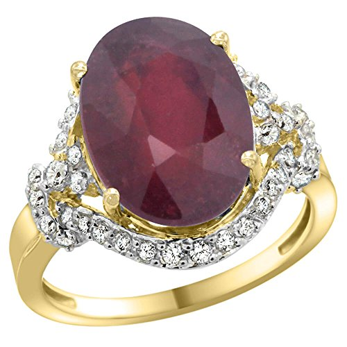 14 ct Gelb Gold Natural Enhanced Ruby Ring Diamant Halo Oval 14 x 10 mm, 3/10,2 cm breit, Größe T