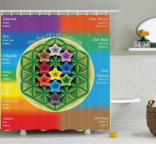 Soefipok Abstrakter Duschvorhang, Baum des Lebens-Diagramms mit Alten Chakra-und Universum-Ikonen-Blumen-Yoga-Muster-Stoff-Gewebe-Badezimmer-Dekor-Satz mit Haken, Regenbogen-Farben -