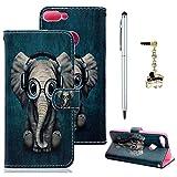 Edauto Huawei P Smart Hülle Leder Case Handyschale Handycase Tasche Handyhülle Schutzhülle Ledertasche Wallet Bookstyle Ständer Kartenfächer Magnetisch Cover Baby Elefant