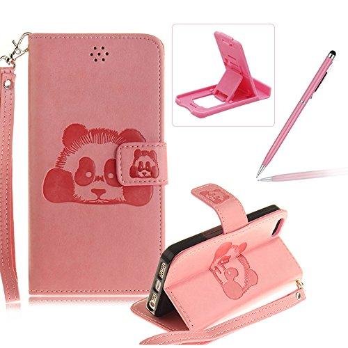 Für iPhone 5 5S SE 4Zoll Wallet Tasche Brieftasche Schutzhülle,Herzzer Stilvoll Jahrgang [Lovely Panda Prägung] Schutzhülle Wallet Case Design Lederhülle Zubehör im Bookstyle Cover Schale mit Ständer  Rosa