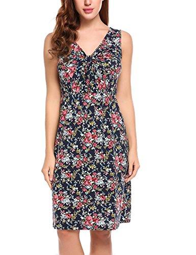 Zeagoo Damen Blumen Kleid Geknotet Wickelkleid Etuikleid Sommerkleider V-Ausschnitt  Ärmlos Marineblau