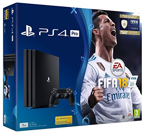 Sony PlayStation 4 Pro Console - Black - 1TB + FIFA18 & FIFA 18 Ultimate Team Icons and Rare Player Pack