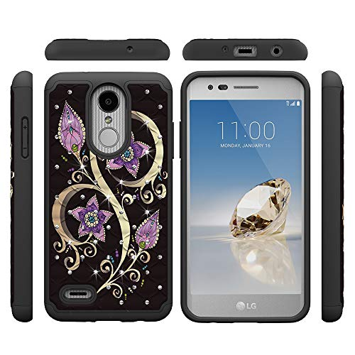 LG Aristo 2 Case, LG Tribute Dynasty/Fortune 2/Zone 4/Risio 3 Sturdy Cases,  Tznzxm 2 in 1 Dual Layer Anti-Scratch Shock Absorption Bling Diamond