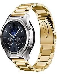 20mm Correa para reloj, happytop acero inoxidable pulsera reloj banda para Samsung Gear S3Classic, hombre, dorado, S